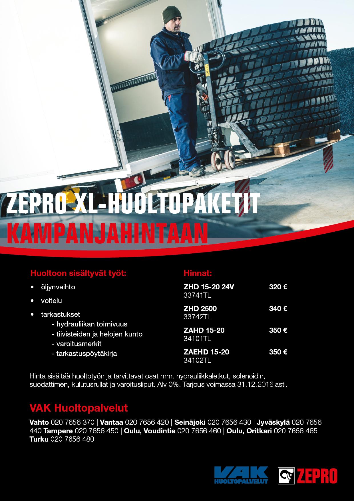 ZEPRO XL -huoltopaketit loppuvuoden ajan kampanjahintaan